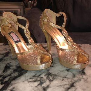 Gold Platform Heels. 5 inches.